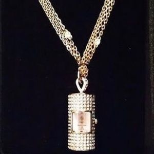 NWOT Crystal Encrusted Watch Necklace
